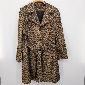 Via Spiga Cheetah 3 Button Trench Coat Animal L